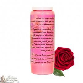 Bougie de neuvaine à la rose pour défunt - Fleurs