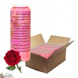 Bougies de neuvaine à la rose pour défunt - Fleurs - carton 20 pièces