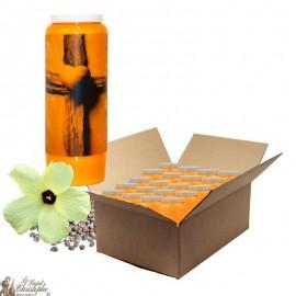 Bougies de neuvaine au musc pour défunt - Croix - carton 20 pièces