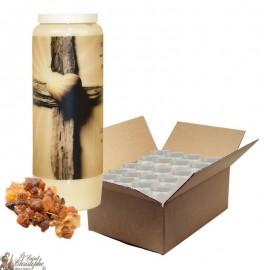 Bougie de neuvaine pour défunt parfum myrrhe - Croix - carton 20 pièces