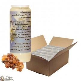 Bougie de neuvaine pour défunt parfum myrrhe - Fleurs - carton 20 pièces