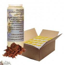 Bougie de neuvaine pour défunt parfum bois de santal - Fleurs - carton 20 pièces
