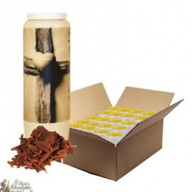 Bougie de neuvaine pour défunt parfum bois de santal - Croix - carton 20 pièces