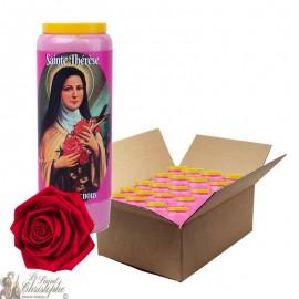 Bougie de neuvaine parfumée à la rose pour Sainte Thérèse de Lisieux - carton 20 pièces