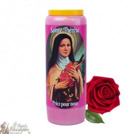 Bougie de neuvaine parfumée à la rose pour Sainte Thérèse de Lisieux