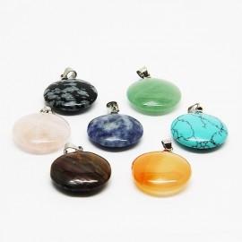 Collier avec 7 pierres de santé, chakras - ronds
