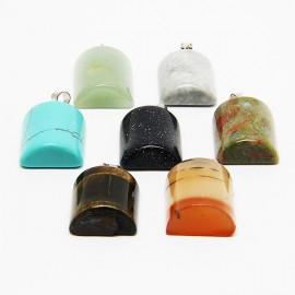 Collier avec 7 pierres de santé, chakras - demi-cylindre