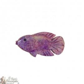 Support d'encens en pierre - Poisson violet