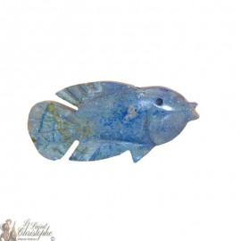 Stone incense holder - turquoise fish