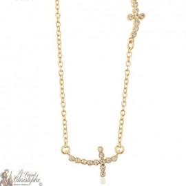 Collier doré croix allongées avec strass