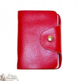 Leather case for cards - red
