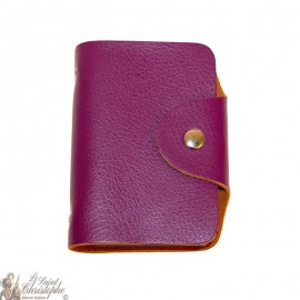 Leather card case - mauve