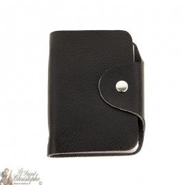 Leather case for cards - black