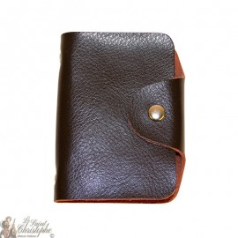 Leather case for cards - black and brown