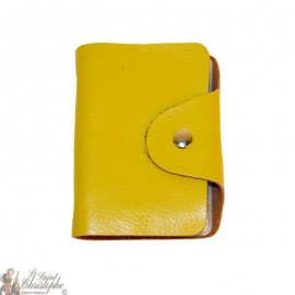 Leather case for cards - olive