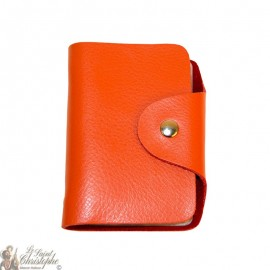 Leather case for cards - orange