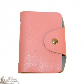 Leather card case - pink