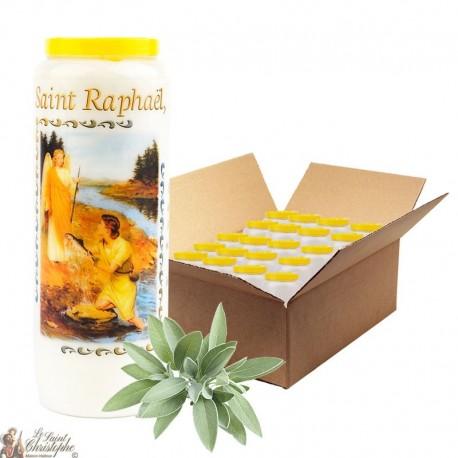 Bougie de neuvaine Saint Raphael parfumée à la sauge - 2 - 20 pièces