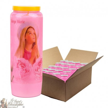 Pink Novena Candles Virgin Mary transparent - 20 pieces