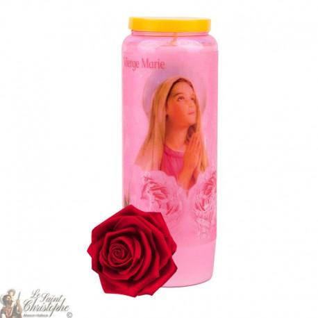 Bougies de Neuvaine Vierge Marie transparent parfumée à la rose
