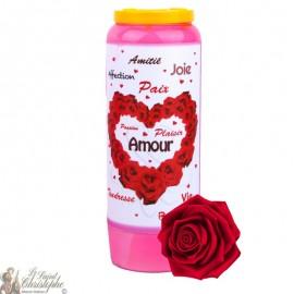 Bougie de neuvaine Saint Valentin parfumée à la rose