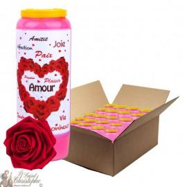Bougie de neuvaine Saint Valentin parfumée à la rose - 20 pièces