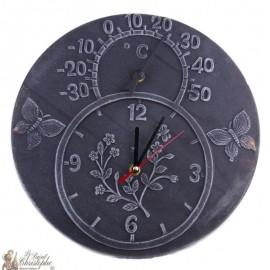 Zwarte terracotta klok en thermometer
