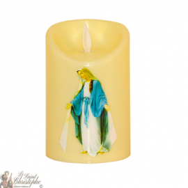 Bougie Led flamme vacillante - Vierge miraculeuse