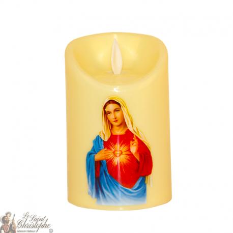 Bougie Led flamme vacillante - Sacré Cœur de Marie