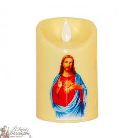 Bougie Led flamme vacillante - sacré cœur de Jésus