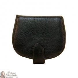 Porte-monnaie noir en cuir