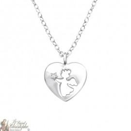 Collier Ange gardien pendentif cœur cristal swarovski - Argent 925
