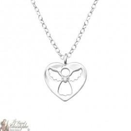 Guardian Angel necklace heart pendant - Silver 925