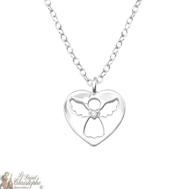 Guardian Angel necklace heart pendant Silver 925