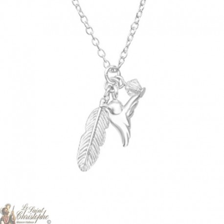 Necklace bird feather Swarovski crystal - Silver 925