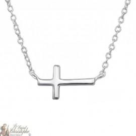 Collier croix horizontale en véritable argent 925