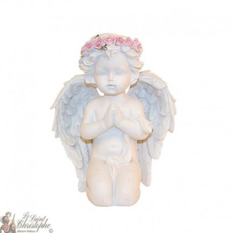 Statue Ange priant couronne de roses - 14 cm
