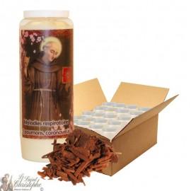 Bougie de neuvaine Saint Bernardin de Sienne parfumée au bois de santal - 20 pièces