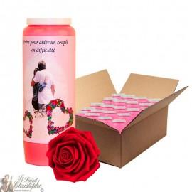 Bougie de neuvaine - Aider un couple en difficulté parfumée à la rose - 20 pièces