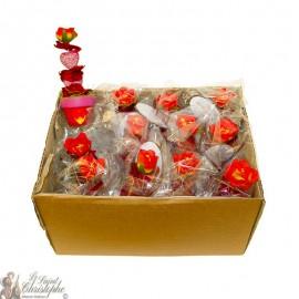 Carton de bouquets de fleurs - pot rouge