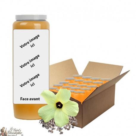 Bougie de neuvaine Orange parfum Musc - personnalisable - carton 20 pièces