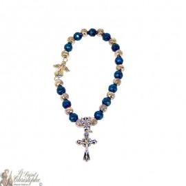 Blaue und silberne Perlen Armband Medjugorje
