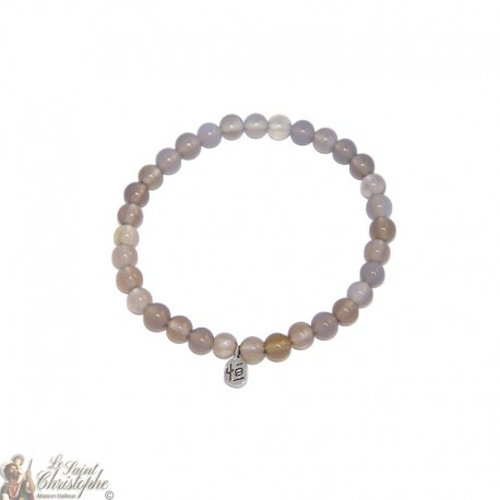 Natural grey agate bracelet