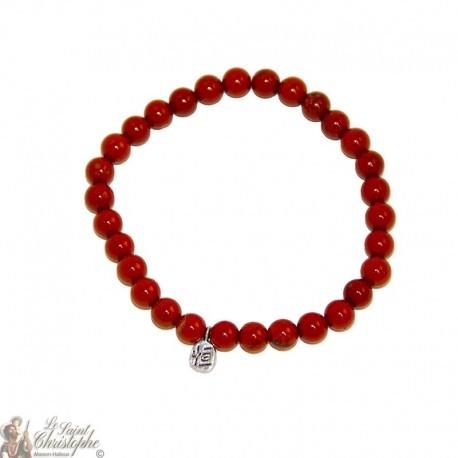 Bracelet en jaspe rouge naturel