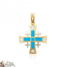 Pendant golden cross crystals and blue enamel