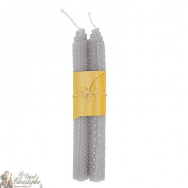 Colored candles in the mass - beehive pattern - gray pair