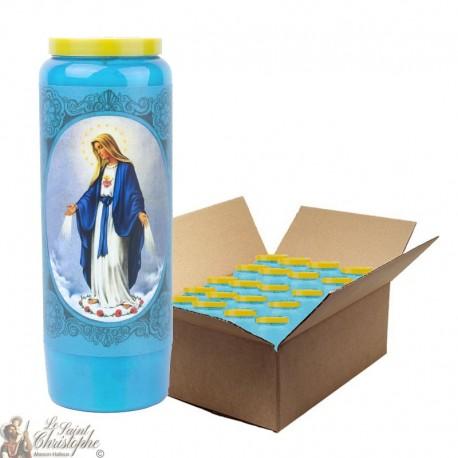 Bougie de neuvaine bleu clair à la Vierge Miraculeuse - carton 20 pièces