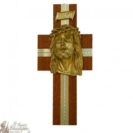 Croix en bois avec tête du Christ - 30 cm