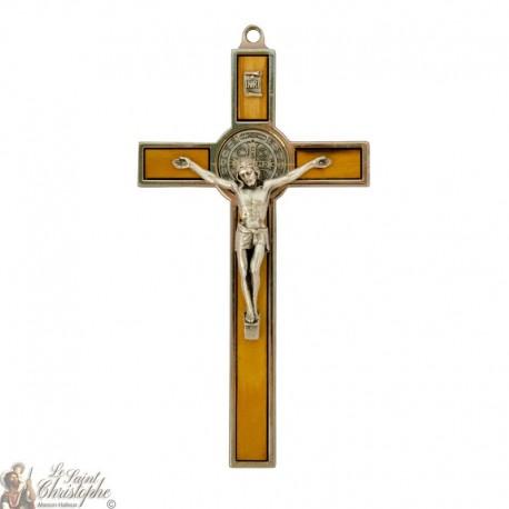 Croix de Saint Benoît bois et métal - 13,5 cm