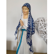 Handcrafted statue Virgin of the Poor of Banneux N.D 40 cm - draped blue flower